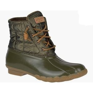 Sperry Shiny Quilt Olive Boots